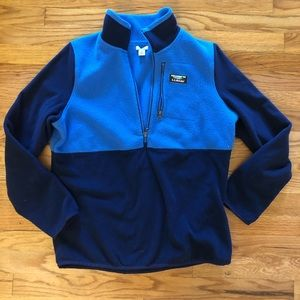 LL Bean M blue pullover 1/2 zip fleece jacket